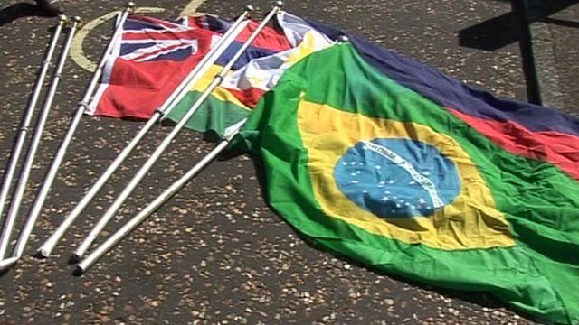 Some of the damaged flags