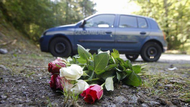 Flowers at crime scene