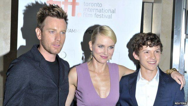 Actors Ewan McGregor, Naomi Watts and Tom Holland