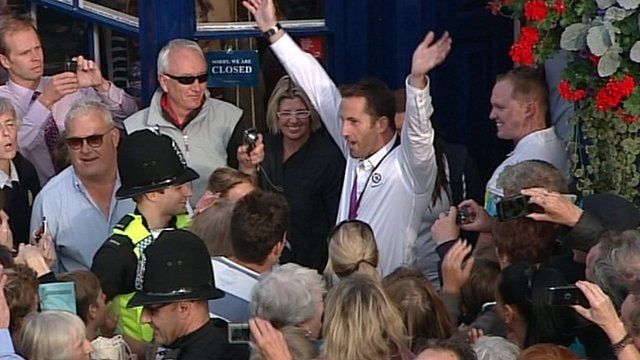Ben Ainslie's Olympic celebration in Weymouth