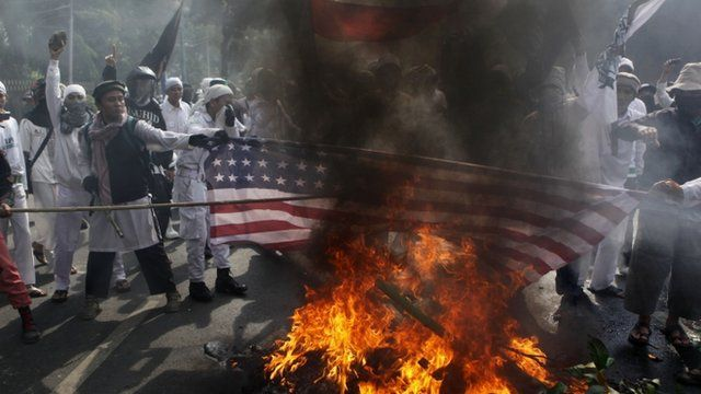 American flag is burnt in Jakarta, Indonesia