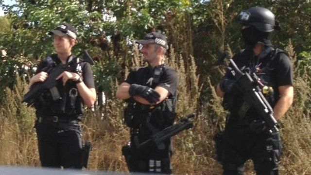 Armed police at the Peterborough travellers' site