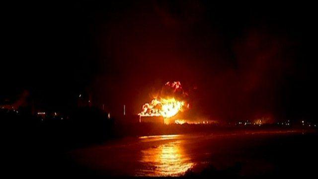 El Palito refinery in Venezuela on fire