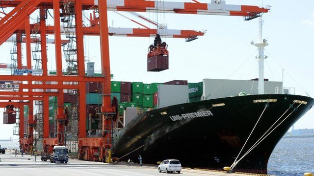 Cargo ship being loaded in Japan