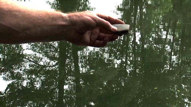 Hand holding a flat stone with lake in background