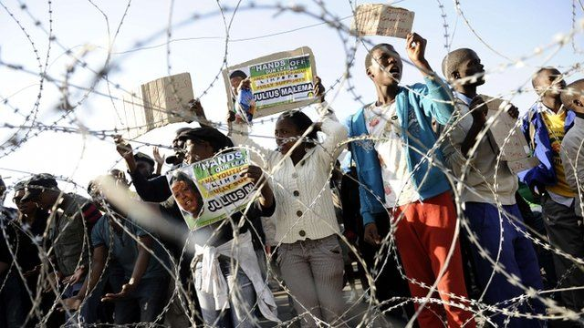 Malema supporters behind barbed wire