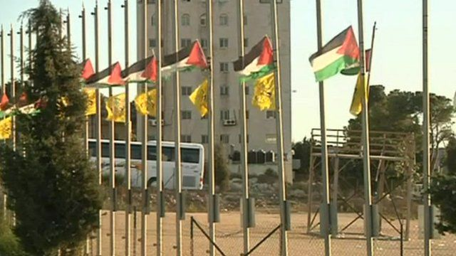 Palestinian flags flying in Ramallah