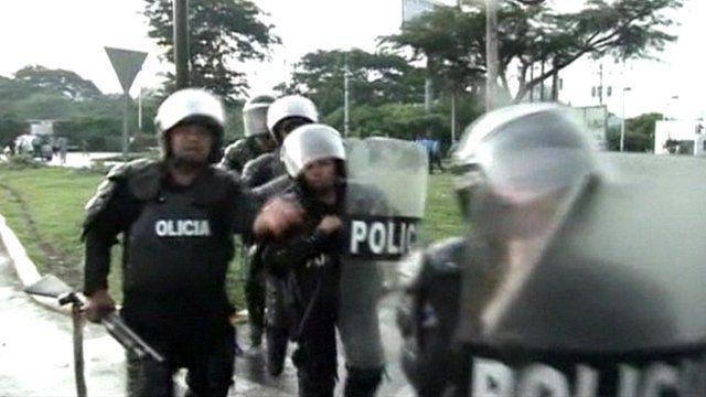 Riot police in Managua