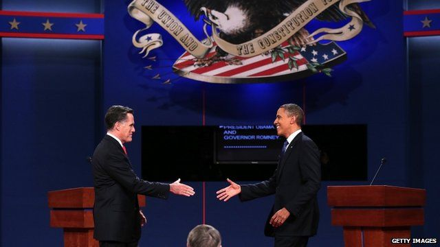 US Republican candidate Mitt Romney and President Barack Obama