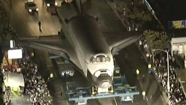 Shuttle on road in Los Angeles