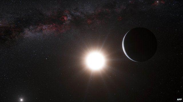 Artist impression of a planet orbiting the star Alpha Centauri B