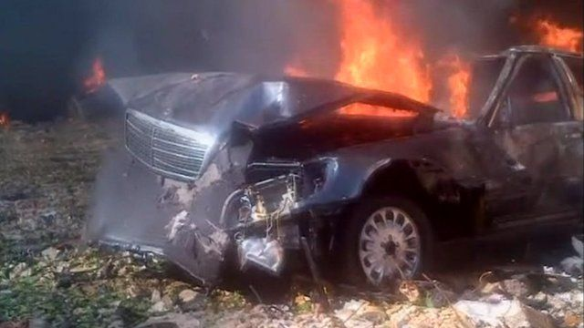 A car on fire following the explosion
