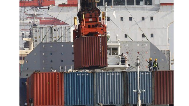 Loading cargo at a port in Tokyo