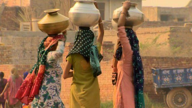 Women in Indian rural village