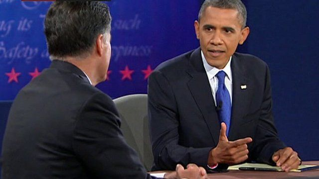 Barack Obama and Mitt Romney during their third election debate