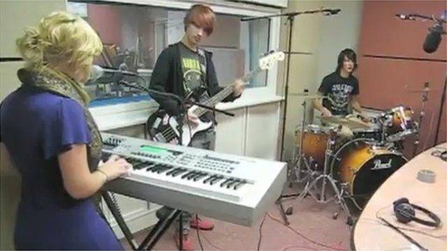 Jenny Hallam in the BBC Worcester studios