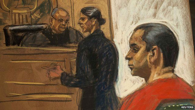 Gilberto Valle, 28, is seen in this courtroom sketch with his attorney Julia Gatto