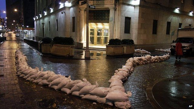 Sandbags outside New York Stock Exchange. 29 Oct 2012