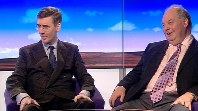 Jacob Rees-Mogg and Roger Liddle