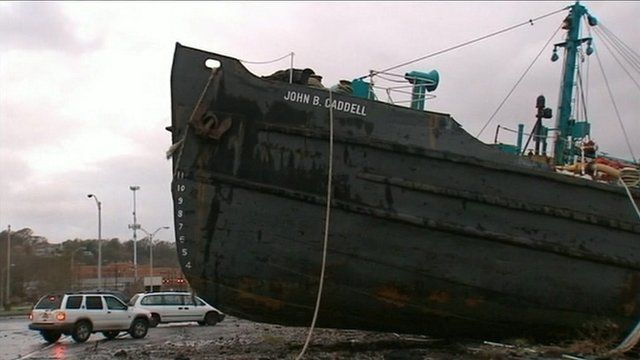 Tanker ship washed onto a street on Staten Island
