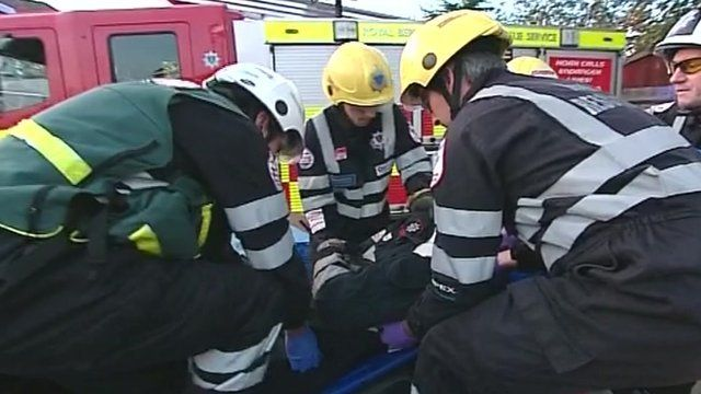 Berkshire firefighters in an exercise
