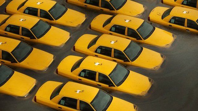 Flooded taxis in New York