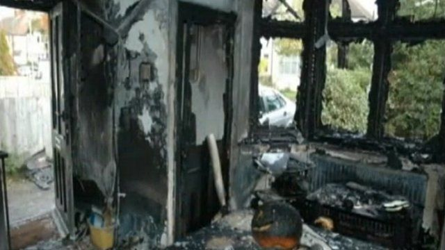 Damage in a house in the Thames Valley after a firework was pushed through the door