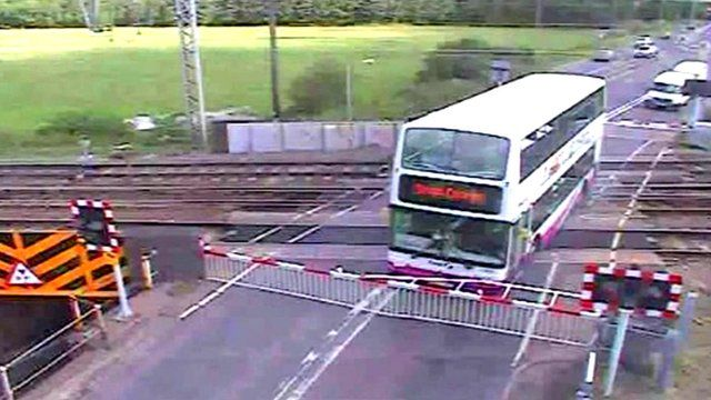 Bus on level crossing