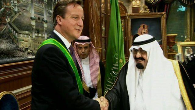 David Cameron meets Saudi officials in Jeddah