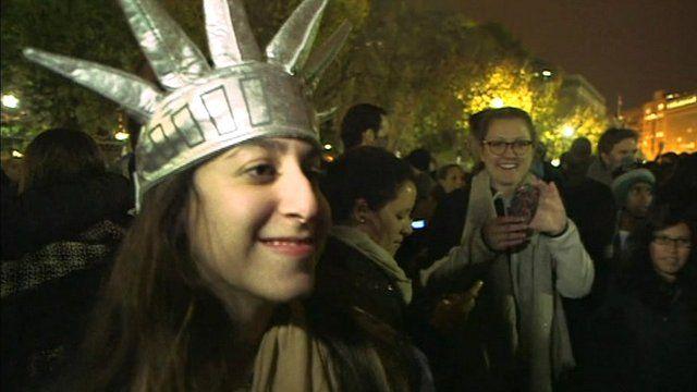 Woman wearing Statue of Liberty hat