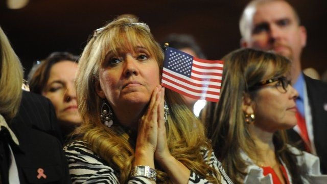 Republican supporters at Mitt Romney convention in Boston