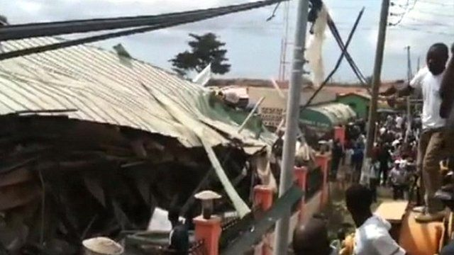 Shot of collapsed building