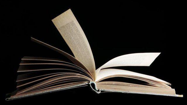 Open hard-back book