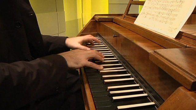 Musician playing Mozart's piano