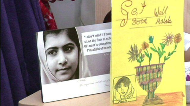 Malala Yousafzai's photo and a wellwisher's card