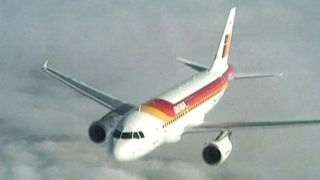 An Iberia airline plane in flight
