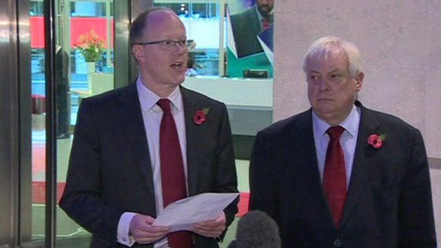 George Entwistle (l) and Lord Patten (r) outside New Broadcasting House
