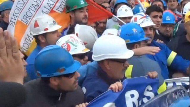 Protesters in Sardinia
