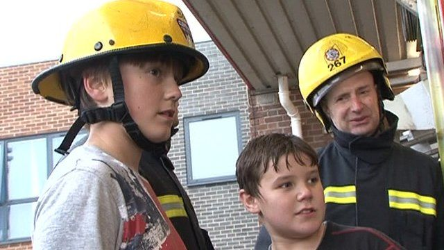 Young carers and a firefighter