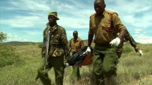 Kenyan military carry a body on stretcher