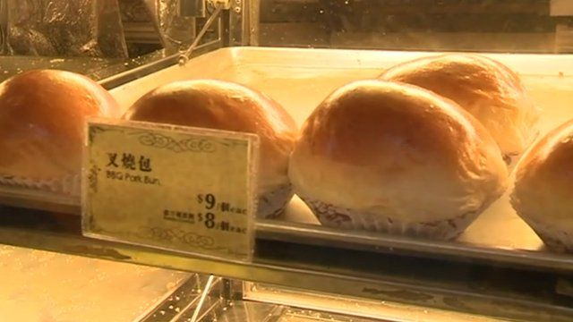 Buns for sale at Tsui Wah Cafe in Hong Kong
