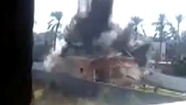 Footage said to show an Israeli attack on the house of a senior Hamas militant