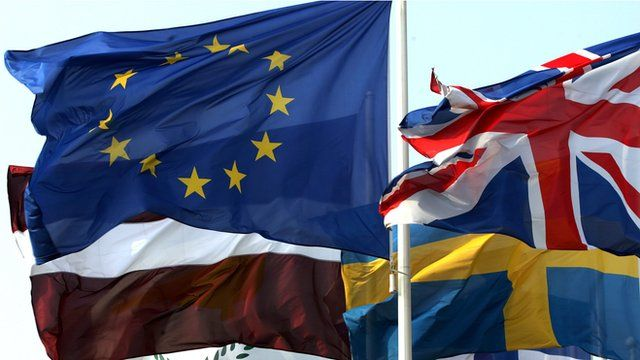 Flags at Strasbourg parliament - UK, EU and other countries