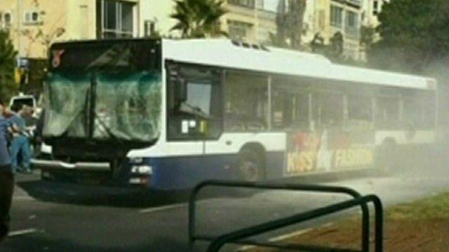 Bus damaged in explosion in Tel Aviv