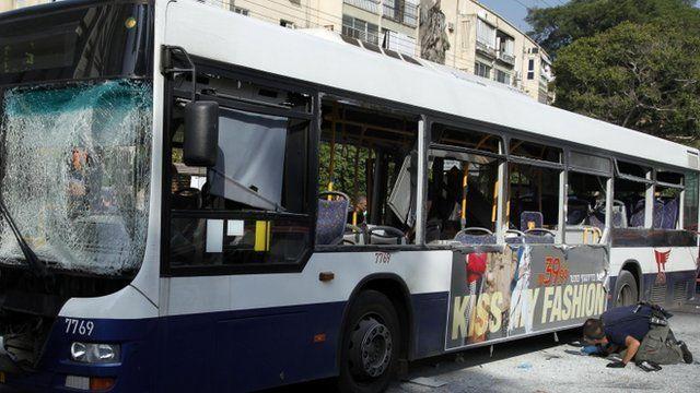 Tel Aviv bus damaged in blast
