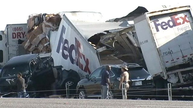 Pile-up of cars and lorries