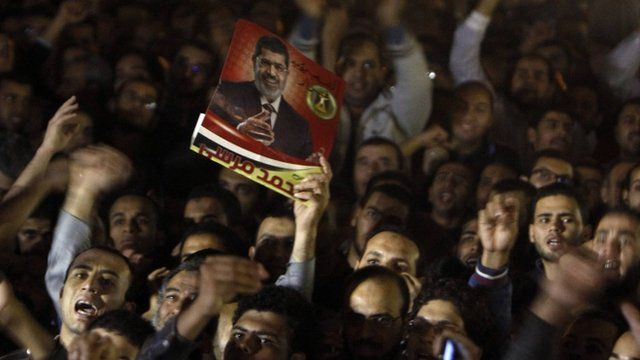 Demonstrators with poster of President Mursi