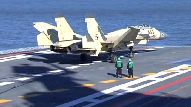 Fighter jet on China's first aircraft carrier