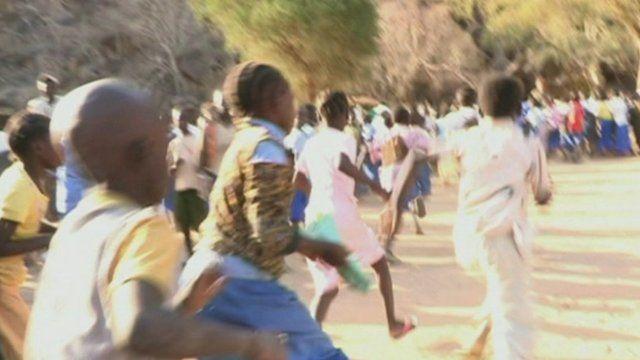 Children flee