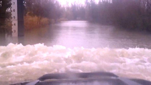 Drive through flooding on Welney Washes